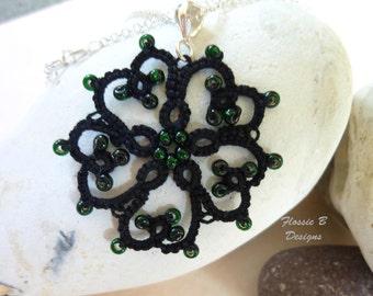 Black heart tatted pendant necklace, gothic pendant, gothic jewellery, flower pendant, birthday gift, tatting, lace pendant, boho jewellery