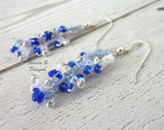 Beaded drop earrings, something blue, tatted earrings, wedding jewellery, bridesmaid gift, boho jewelry, gift for her, birthday present