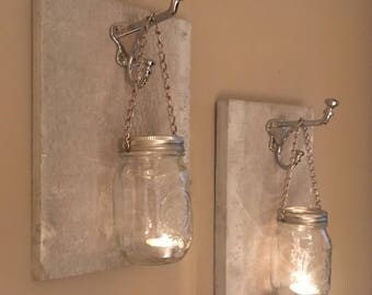 Whitewash Mason Jar Wall Sconces / Rustic Candle Sconces