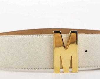 Authentic 90s Moschino Vintage White Leather Waist Belt Gold Tone Letter Logo Size 44 Medium Large Womens Vintage Belt Italy Redwall
