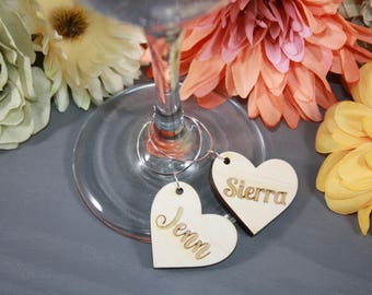 Personalized Wine Glass Charms // Bridal Shower Wine Glass Charms // Rustic Wedding Favors