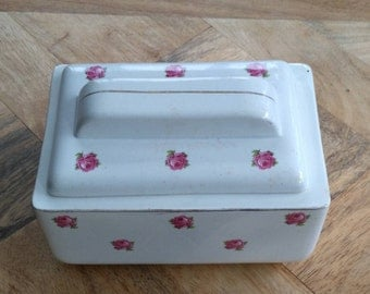 Sugar/cookie box in old earthenware of Digoin Sarreguemines France with roses pattern