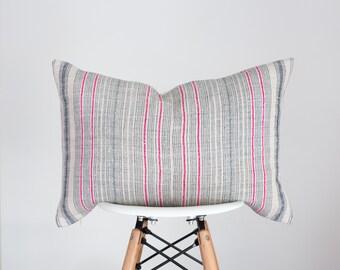 14 x 22 Blue, Pink and Cream Stripe Hmong Batik Fabric Pillow Cover, Boho Pillow Cover