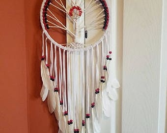 Large Tree Of Life Crystal Dreamcatcher red black white