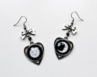 earrings cameo planchette sun moon ouija silver bow gothic occult pagan esoteric spiritism wicca magic witch witchcraft witchy dark