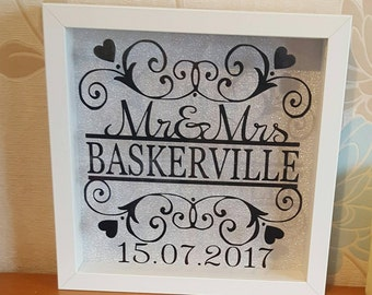 Personalised wedding gift, Wedding present, gift for bride & groom, wedding frame, newlywed gift, gift for couples, wedding anniversary gift