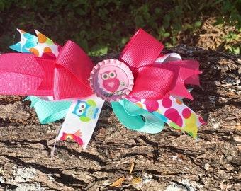 Owl Bow birthday bows,Owl hair accessories,Owl girls gifts,School hair accessories,Preschool hair accessories,Bottle Cap hair accessories