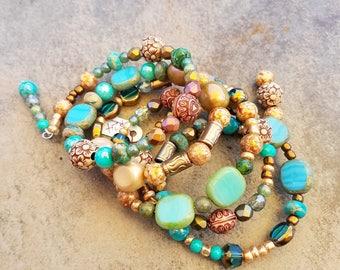 Memory wire bracelet, handmade jewelry, multi stone bracelet, unique gifts