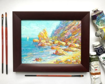 oil painting original framed seascape ocean painting landscape sea clifs sailboat classical fine art interior wall home decor by A. Salatov