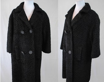 1960s Persian Lamb Coat // Vintage Winter Coat // 1960s Black Winter Coat // Vintage Double Breasted Coat // 60s Women's Coat // Witchy Coat