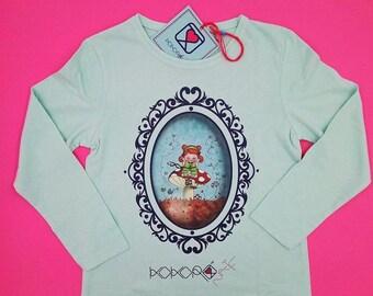t-shirt girl - kid - aquamarine - mini shopper - button - pin -  doll - mushroom - romantic - cameo - handmade - gift idea - kokoronaif tees