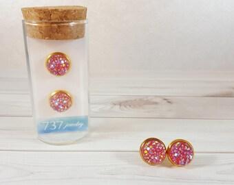 Fuchsia Druzy Earrings, Gold Druzy Stud Earrings, Pink Stud Earrings, Gold Druzy Stud Earrings, Pink Faux Druzy, 10mm Pink Druzy Stud