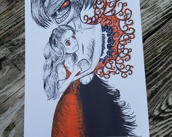 "Gothic Ink Drawing Art Print ""Evolved Monster"""