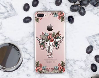 Skull iPhone 7 Case Clear iPhone 7 Plus Case Roses iPhone 6s Case Clear iPhone 7 Case iPhone Case iPhone 6 Case Clear 5s iPhone Case cn027
