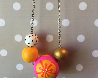Statement Necklace // Fuschia and Orange Floral Design