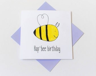 birthday card|funny|hand painted|bee|simple|modern|handmade