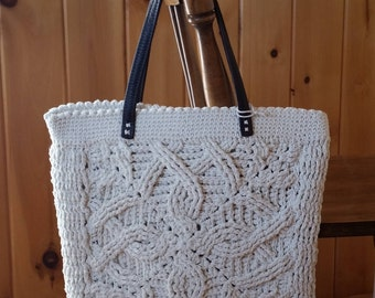 Crochet Braided Cables Shoulder tote