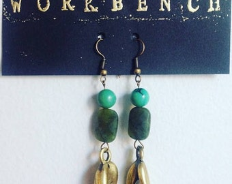 Turquoise, jade and brass mudras earrings