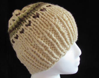 Handmade Knit Natural Hat