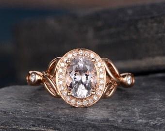 Morganite Engagement Ring Rose Gold Diamond Split Shank Ring Infinity Knot Halo Oval Cut Half Eternity Retro Ring Women Bridal Anniversary
