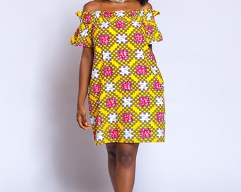 Ankara off-shoulder baby-doll dress, African print dress, African clothing, Ankara loose dress, Ankara clothing, Ankara summer dress.