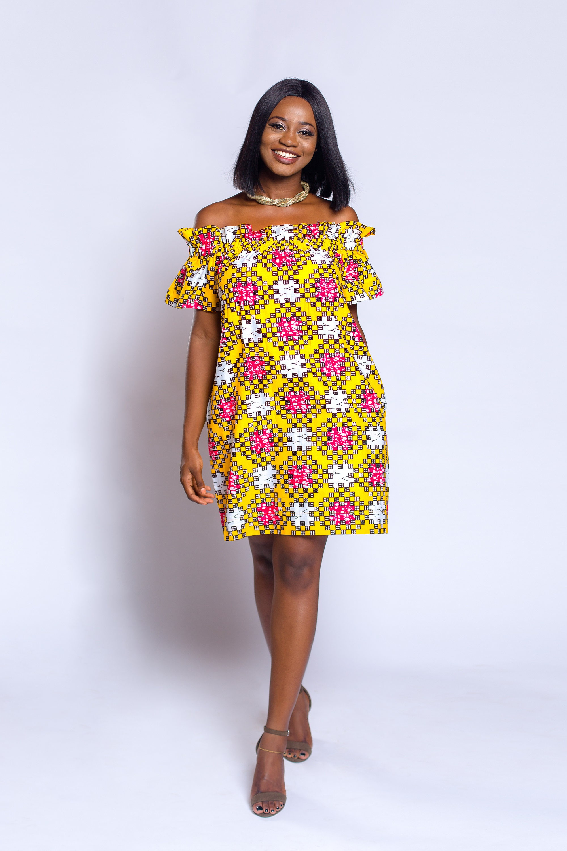 Ankara off shoulder baby doll dress African print dress