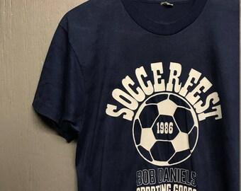 M vintage 80s 1986 Soccer Fest screen stars t shirt
