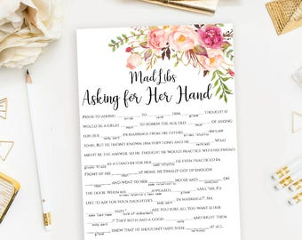 """Bridal Shower Mad Libs printable floral Funny """"Asking for Her Hand"""" Madlibs stories games template DIY Instant download PDF JPEG"""
