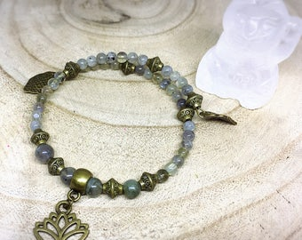 Adjustable lotus bronze Labradorite Crystal healing bracelet
