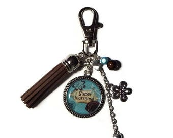 "Keychain - gift godmother ""Super godmother"" bag charm/personalized/Keychain Brown tassel"