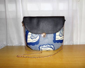 Bag Amy number 1: wax (Ankara) and leather satchel