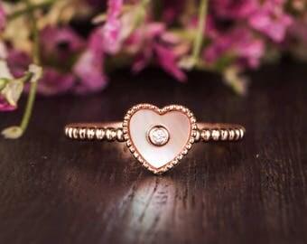 Antique Engagement Ring Heart Shaped Beaded Diamond Wedding Bridal Mother of Pearl Bezel Set Ring Promise Anniversary Gift Eternity Women