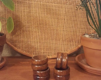 Set of 4 vintage wooden napkin rings.  Rustic wood napkin holders.  Rustic, boho, country, eclectic
