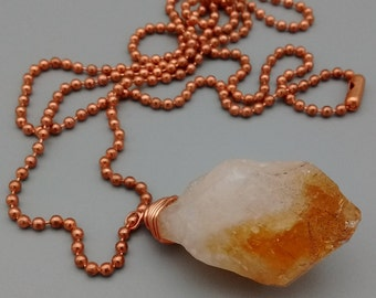 Citrine Pendant, Wire Wrapped Crystal Necklace