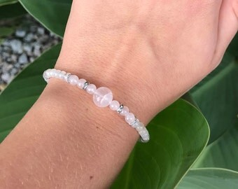 Fertility Bracelet, ivf bracelet, rose quartz bracelet, pregnancy bracelet, fertility crystals, gemstone bracelet,delicate gemstone bracelet