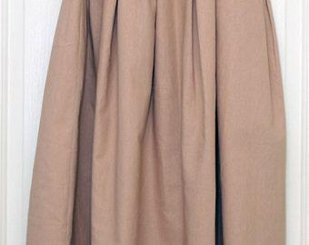 Linen/Cotton elastic waistband skirt, pleated skirt, cotton skirt, linen skirt, elastic waist skirt, summer skirt, casual wear
