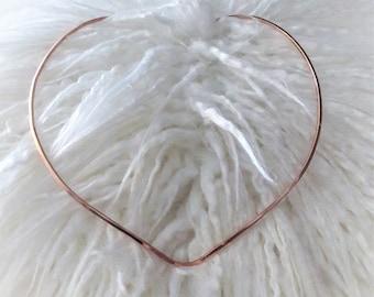 V-Shape Copper Wire Collar Necklace Square Wire Copper Choker Pendant Hanger Necklace Copper Neck Cuff Necklace Square Copper Wire Necklace