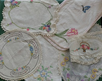 Six Vintage Needlework Embroidery Doilies - Floral Cheer