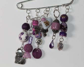 PIN purple beads and charms