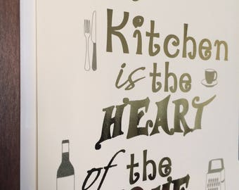 Kitchen is the Heart of the Home Foil Print (Kitchen Wall Art) Gold, Rose Gold, Pink, Silver