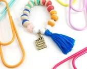 Crayon Charm Tassel Bracelet, Art, Artist, Coloring, Charm, Girl Gift, Crayons, Tassel, Beads, Hand Painted, Back to School