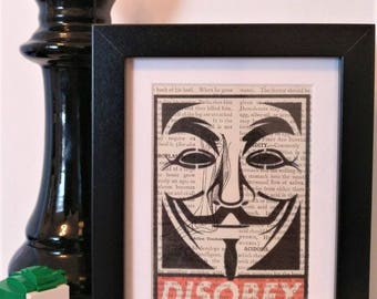 Disobey - Graffiti/Obey inspired V For Vendetta Print on Vintage Medical Dictionary Page.