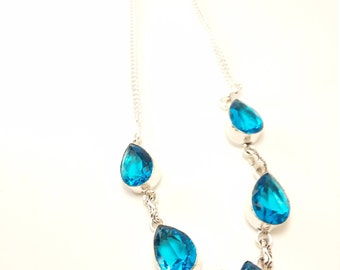 Sterling silver stunning pear shaped blue topaz gemstone  necklace new reduced price