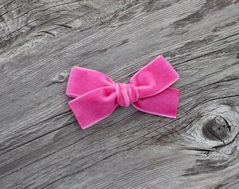 HOT PINK - JANIE - hand tied velvet bow - babies - toddlers - little girl - hair clip or nylon headband - piggy set•