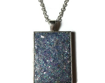 light purple druzy, druzy pendant, druzy necklace, geode jewelry, crystal pendant, boho, purple druzy, rectangle pendant, under 20 dollars