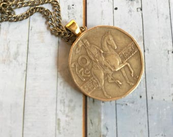 Vintage Czech Mint to a long oudgouden necklace. Original coin. Czech.