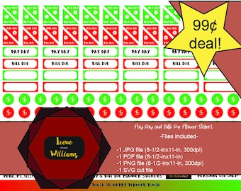 Happy Planner Red and Green Bill Due and Pay Stickers for Personal Use only!