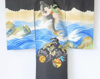 Authentic Japanese Vintage Boy's Silk Formal Kimono Kamon Crest M67