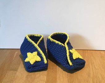 Fortune Cookie baby shoes-blue with star
