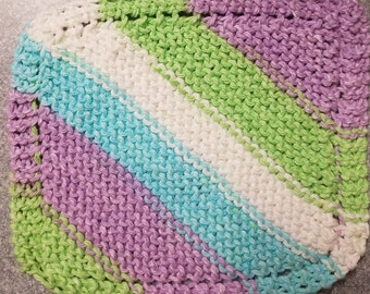 Handmade Knitted Dishcloth - Violet Stripes